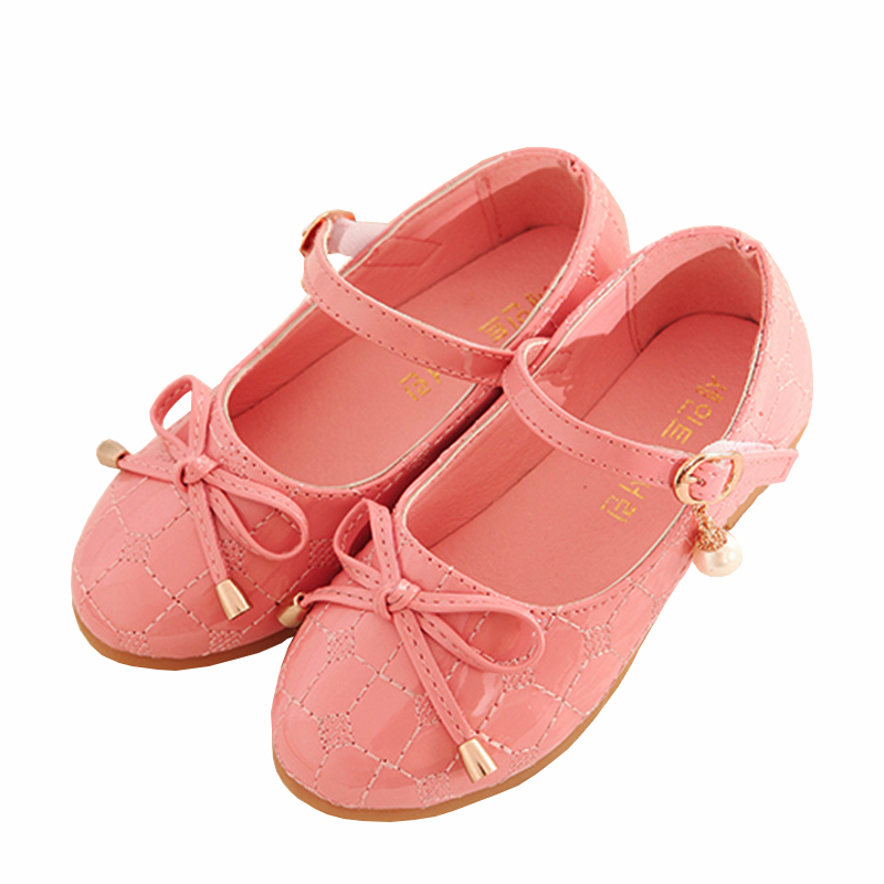 Girls School Shoes Autumn 2016 New Arrival Fashion Coat of paint Childrens Shoes Girls Solid Bow Simple Cute Girl Shoes 9080Z(China (Mainland))