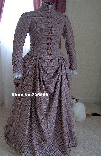 Custom Made to Fit you-1800s Plaid Wool Victorian Dress 1800s Bustle Day Gown/Walking&Traveling Suit Ice Skating Costume(China (Mainland))
