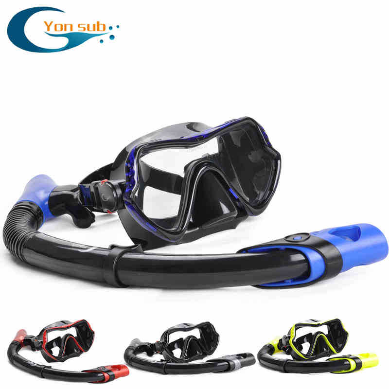free High Quality Glass Diving Mask And Snorkel Set can scuba Diving Goggles and a breathing tube adult(China (Mainland))