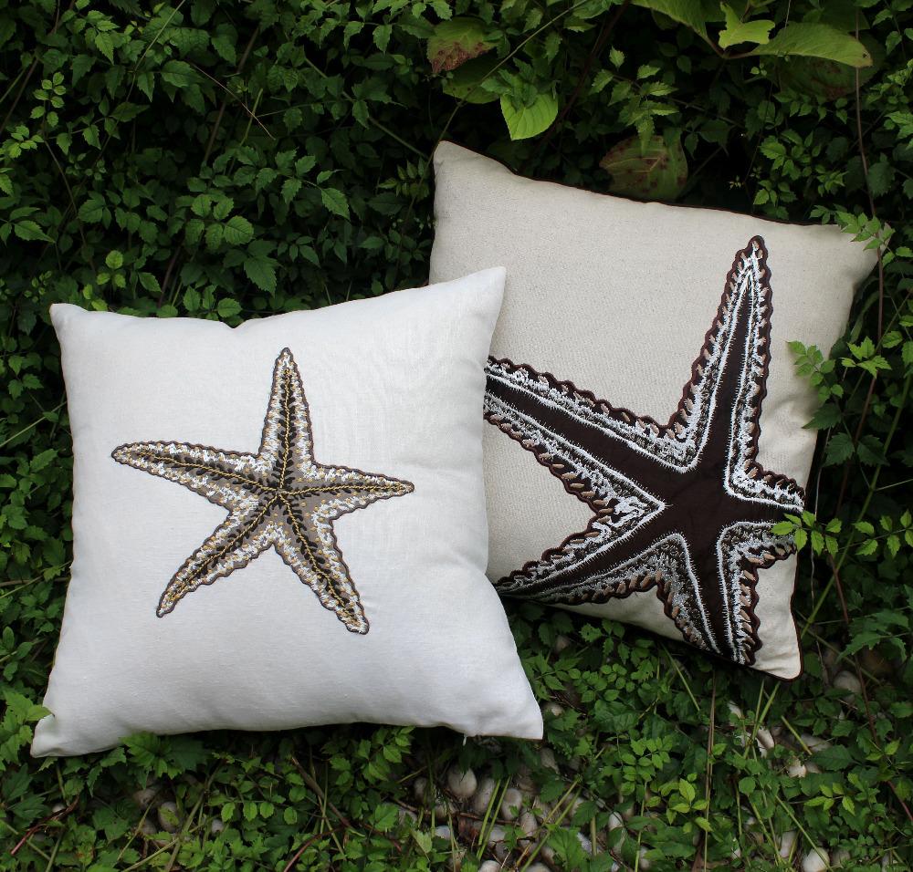 "VEZO HOME 2pcc/lot embroidered starfish linen sofa home decoration cushions throw pillows chair seat decorative pillowcase18x18""(China (Mainland))"