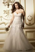 Top Online Mermaid Sweetheart Sleeveless Strapless Lace Plus Size Wedding Dresses 2015(China (Mainland))