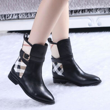 Motorcycle Boots Famous Brand Genuine Leather Ankle Boots Women Western Design Plaid Boots 2016 New Buckle Boots High Quality(China (Mainland))