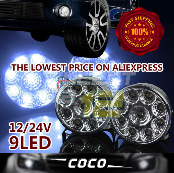 LOWEST PRICE ON ALIEXPRESS!! 2x DRL Daytime Running Light 9 LEDS Daytime Running Work Light Lamp 4X4 4WD SUV TRACTOR TRUCK(China (Mainland))