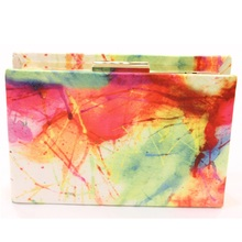 Ladies Fashion Diary Book Handbag Purse Shoulder Bags Metal Day Clutches Colorful Painting Hard Case Casual Clutch Dinner Bag(China (Mainland))