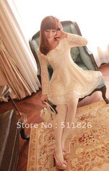 Women Spring Pearl Collar Stiching Chiffon Lace A Type Swing Tunic Dress free shopping  5120