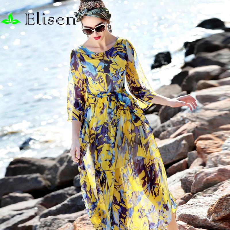 Bohemian Dress 2016 Spring Summer New Fashion Runway 3/4 Sleeve Flower Print High Quality Belt Elegant DressОдежда и ак�е��уары<br><br><br>Aliexpress