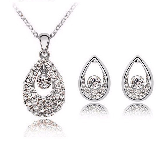 Fashion 18k Gold Plated Water Drop Luxurious Crystal flower Women Necklace/Earrings Jewelry Sets CS78
