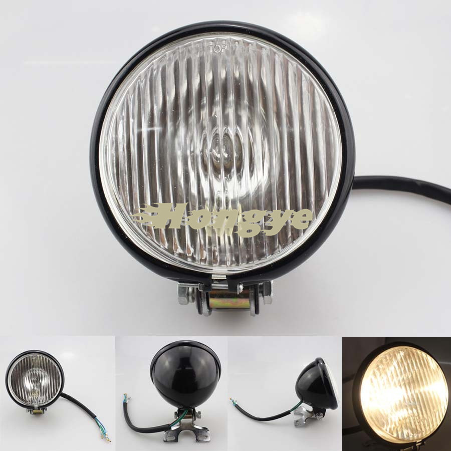 Motorcycle Black 5 30 12V Halogen Retro style Headlight For Harley Cafe Racer Bobber Custom<br><br>Aliexpress