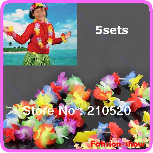 "A96 ""Hawaiian Flower Necklace + Lei Headband + 2pcs Bracelets Anklet Fancy Dress Garland Beach Hula 5Sets/lot(China (Mainland))"