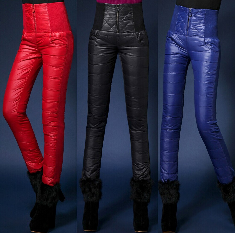 2015 Formal Pants Trousers Winter High Waisted Outer Wear Women Ladies Fashion Slim Warm Windproof Thick Down Pants Trousers(China (Mainland))