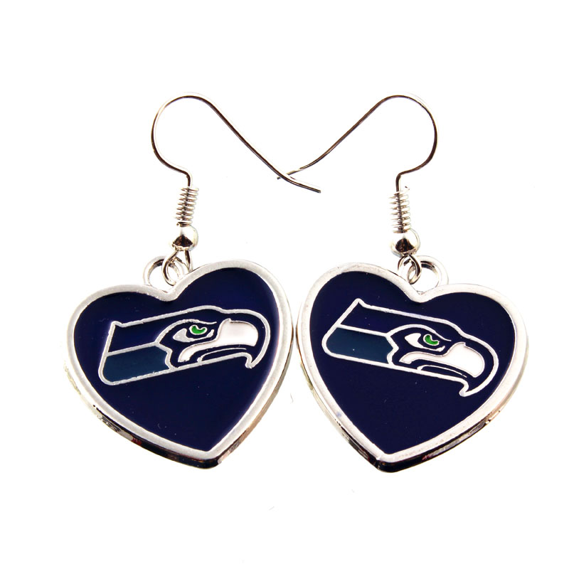 Hot American Football Earring Alloy Seattle Seahawks Blue Hear Drop Earring Fashion Jewelry Colorful 5Pairs/lot(China (Mainland))