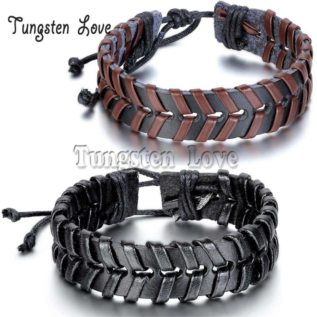 Punk Rock Wide Mens leather Bracelets Wholesale 2015 Braided Rope Bracelet pulseira de couro Black / Brown colors Adjustable(China (Mainland))