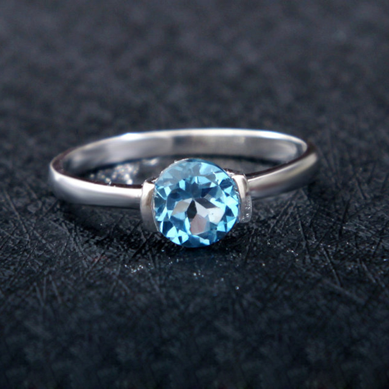 New Fashion London Blue Topaz ring real 925 Solid Sterling Silver natural light blue topaz trendy jewelry Accessories for woman(China (Mainland))