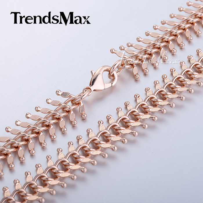 Customize ANY Length 14mm Womens Chain Girls Ladies Centipede Rose Gold Filled GF Necklace 18 36inch