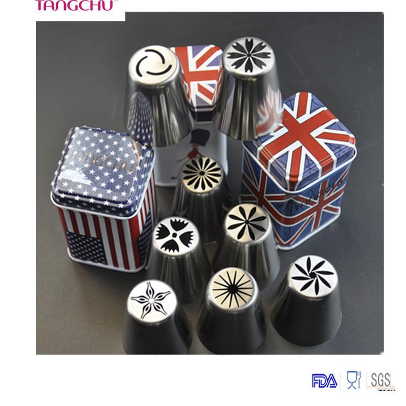 TANGCHU Russian Piping Tips 8PCS/SET 304 Stainless Steel Large Size Icing Syringe Set DIY Coupler Nozzle(China (Mainland))