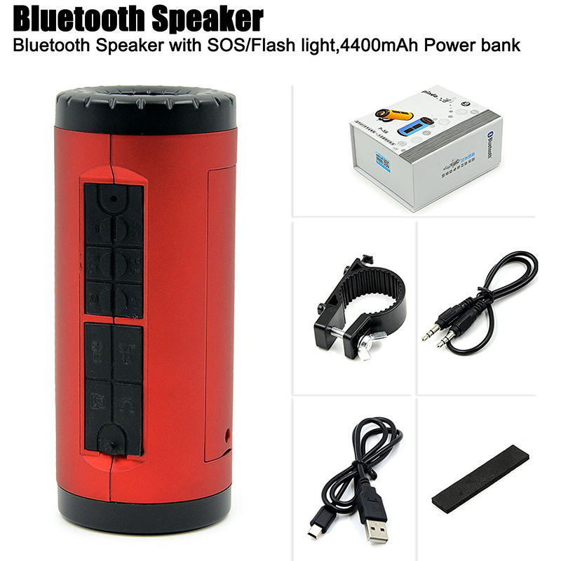 Rosimee 4400mAh Power Bank Charger Portable Bicycle Bluetooth Speaker Support TF Card with LED Light FM Radio VS PiPle Bluedio(China (Mainland))