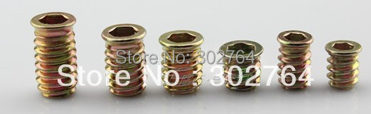 M4 X 10mmx50pcs Flanged Hex-Drive Threaded Insert for Wood screw furniture hardware(China (Mainland))