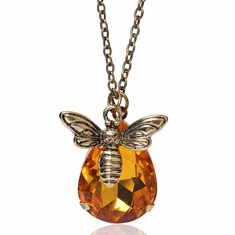 New Copper Crystal Bumble Bee Necklaces & Pendants Lovely Honey Bee Necklace Jewelry Lover Gift Graduation Gift(China (Mainland))