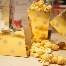 7*5*11.5cm 24 pcs gold spot Bar mini Popcorn bucket paper Boxes Bags Kids Party Treat Boxes Wedding Birthday Decoration(China (Mainland))