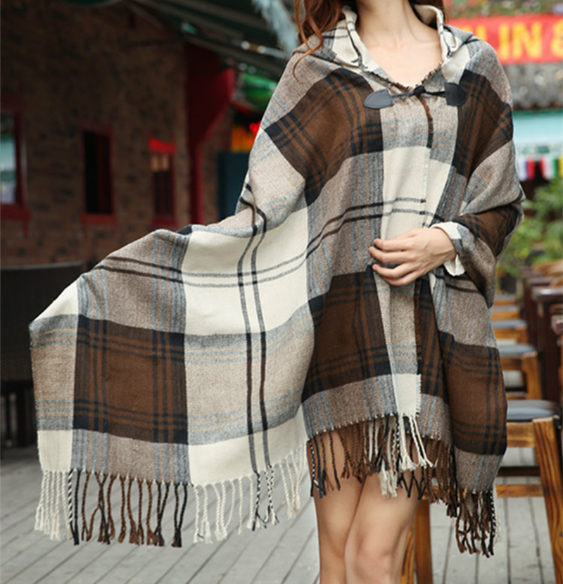 Free Shipping 2016 New Women Novelty Autumn Winter Plaid font b Tartan b font Poncho Shawl