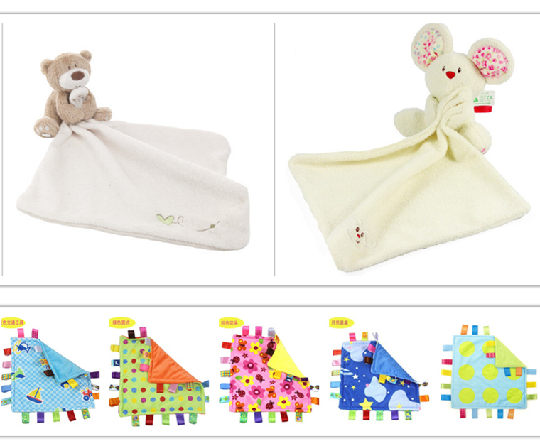 Cute Bear Baby Blanket 35*30cm Soft Coral Fleece Baby Toys Learning & Education Baby Care Products High Quality YYT087-YYT088(China (Mainland))