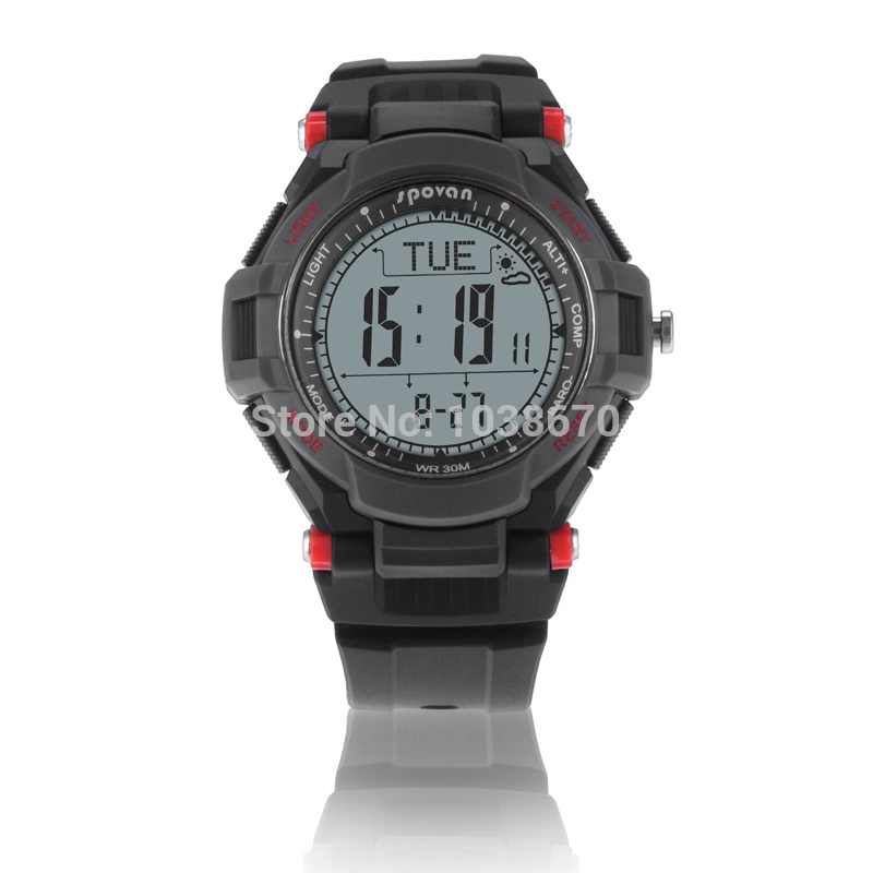 2014 Spovan RED/YELLOW Multifunction Digital Sports Compass Watch /Barometer Pacer Altimeter Monitor Running Cycling Wristwatch<br>