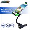 Car Phone Holder Mount with Dual Usb Charger Cigarette Lighter Stand Cradle for Iphone Samsung Nokia