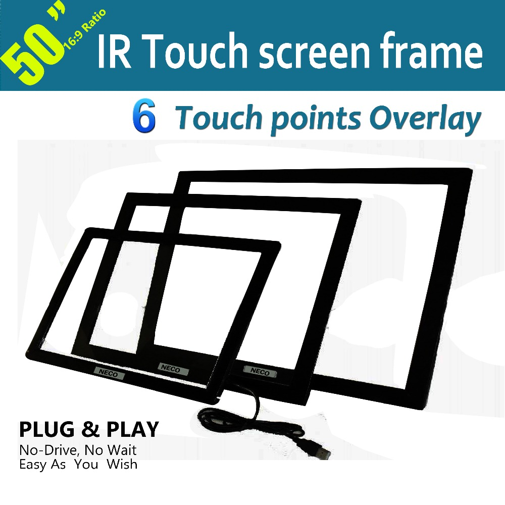 """50"""" IR touch screen panel/Overlay, Ir multi touch screen frame without glass, Real 6 points,Dust and water proofing, anti-vandal(China (Mainland))"""