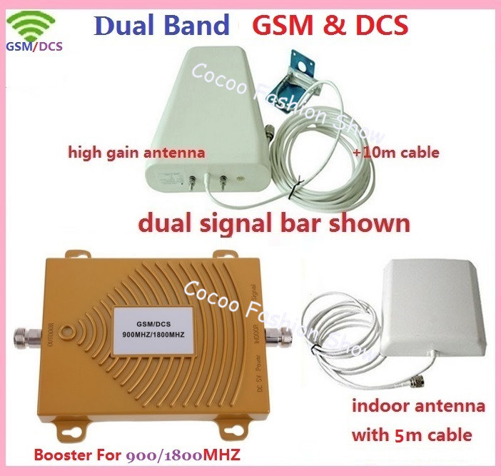 1 Set Mini DCS 1800MHz + GSM 900Mhz Dual Band Mobile Phone Signal Booster Cell Phone DCS GSM Signal Repeater Amplifier + Antenna(China (Mainland))