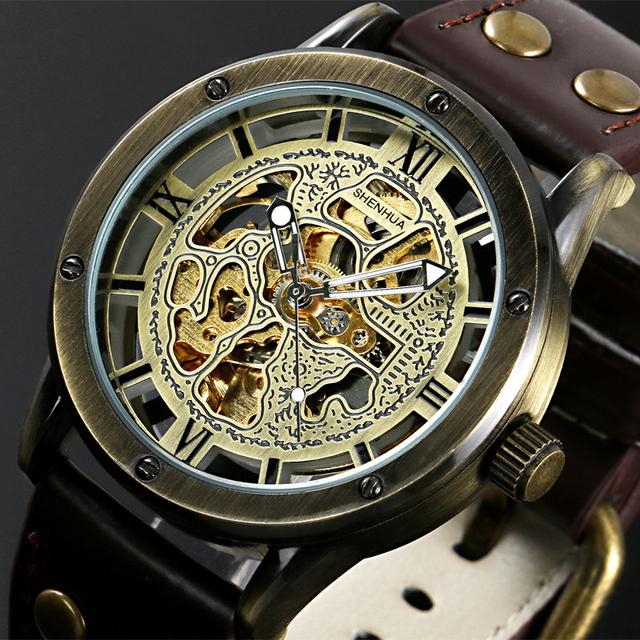 Старинные бронзовые мужская скелет часы часы мужской кожаный ремешок антикварная стимпанк свободного покроя автоматическая скелет механические наручные часы