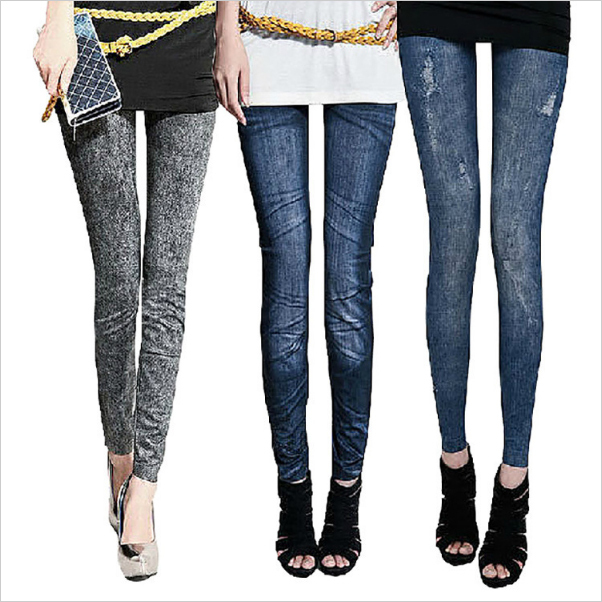 2015 New women leggings Fashion Polyester Spandex Copy Jeans Hole Feet pants female thin section DK021 - &Shoes&Fitting Co.,LTD store