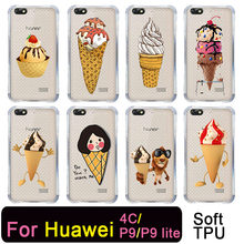 Transparent TPU Phone Case For Huawei Honor 4c P9 P9 lite Dessert ice cream Soft Silicone Protective Cover Cases For Honor4c