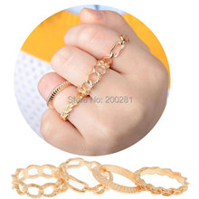 Buy 4Pcs/sets Punk Gold Hollow Finger Rings Set Women Fashion Jewelry Hollow Band Midi Mid Finger Knuckle Rings Sets Party for $1.21 in AliExpress store