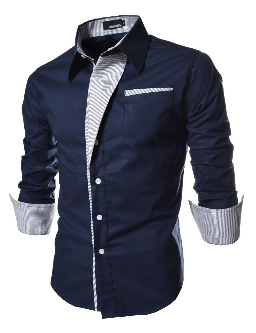 2015 new fashion Casual Men Shirts Long Sleeve Autumn great Brand Cotton Slim High Quality shirt