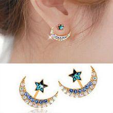 Brand Retro Exquisite Women Acrylic Flower Crystal Gem Cubic Zircon Diamond Moon Star Stud Earrings For Women Accessories E195(China (Mainland))
