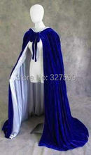 Wedding party Cosplay Free shipping New Blue Velvet Lined in Silver Satin Cloak Gothic Wicca Robe