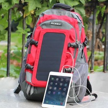 ECEEN Solar Bag Backpack Hiking Daypacks With 7 Watts Solar Panel Charger for iPhone,Cell Phones, Etc. Other 5V USB Devices Red(China (Mainland))