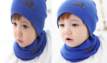2pcs Han Style Solid Color Leather Sign Baby Girls Boys Babies Beanie Spring Winter Autumn Warm Knit Hat with Scarf(China (Mainland))