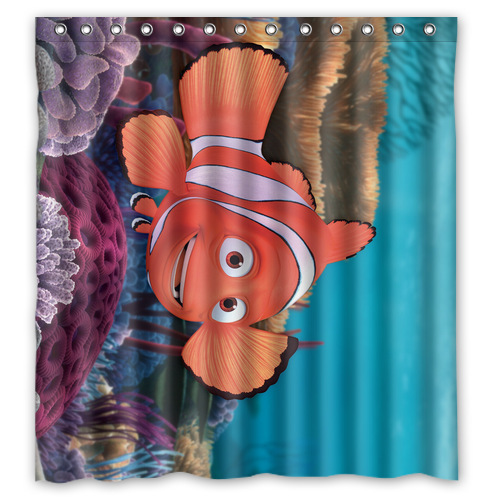 Nice Designed Waterproof Polyester Shower Curtain Customized Fish Shower Curtain 66 IN x 72 IN (13 holes)(China (Mainland))