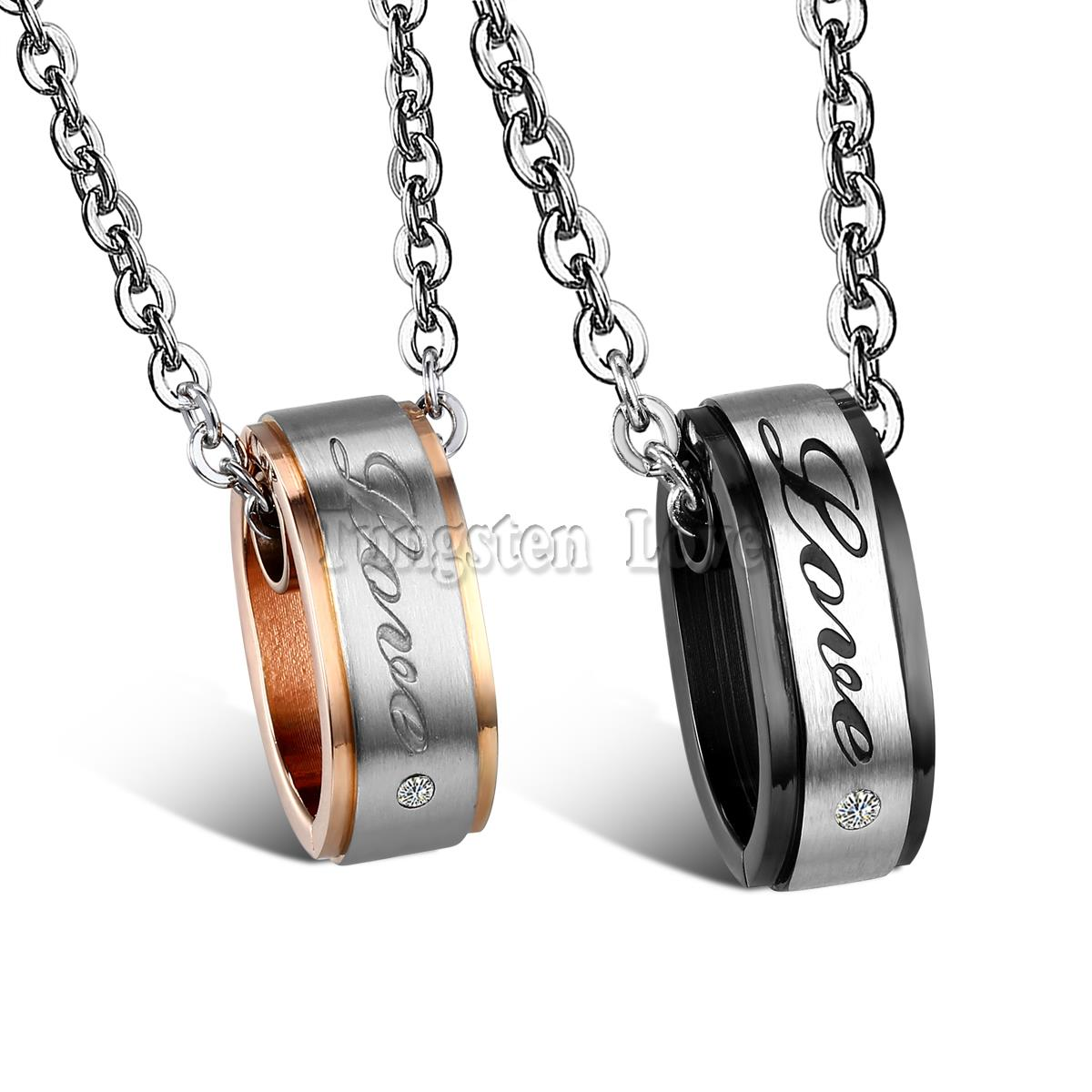 """2015 Lovers Stainless Steel His Black & Hers Rose Gold Color Plated Circle Cz """"Love"""" Engraved Pendant Necklaces for Couple(China (Mainland))"""