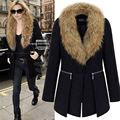 New Women Elegant Wool Blend Winter Coat Office Lady Big Fur Collar Black Slim Zipper Warm