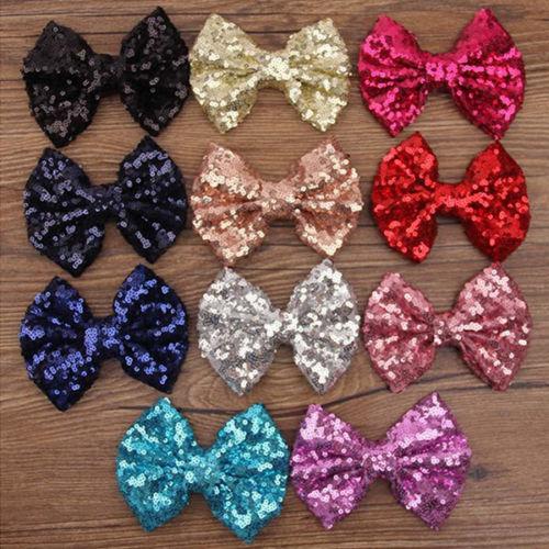 Sweet Kids Girls Glitter Shiny Sequined Bow Bowknot Hair Clip Headdress(China (Mainland))