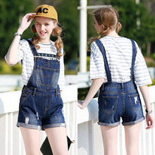 New 2016 Strap shorts jeans overalls plus size loose casual denim shorts suspenders Jumpsuits Rompers women blue hole S-XL