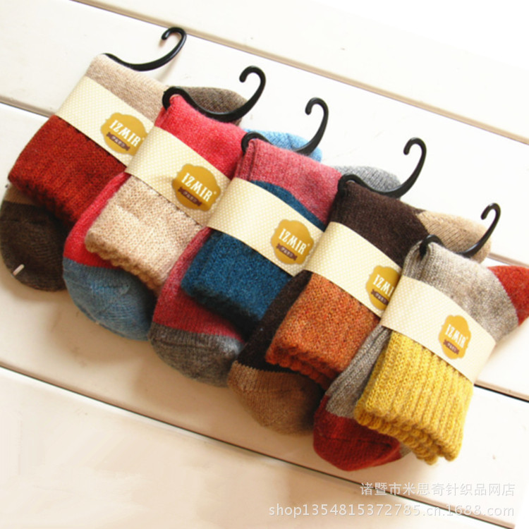 2013 new high-quality cashmere wool socks thick socks Zhuji gradient system manufacturers, wholesale(China (Mainland))