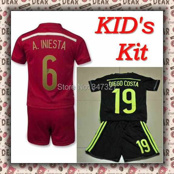 2014 Spain Kids kit Jersey, Spain kids boys child Soccer Jersey red shirt , Spanish Espana negra rojo equipacion(China (Mainland))