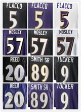 Best quality jersey,Men's 5 Joe Flacco 9 Justin Tucker 57 C J Mosley 58 Elvis Dumervil 89 Smith Sr elite jerseys,Purple,Black(China (Mainland))