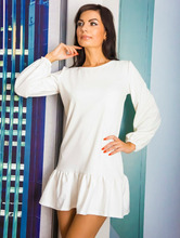 Woman Clothes 2015 New Fashion Spring Fall Women Casual White Long Sleeved Lantern O-Neck Sexy Mini Elegant Party Dresses(China (Mainland))