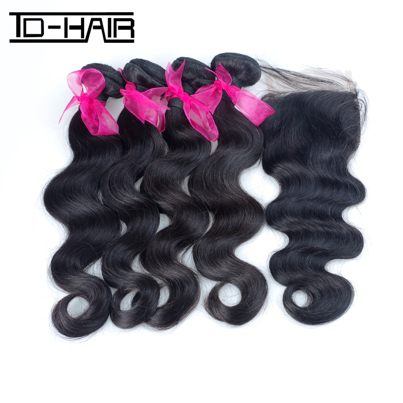 Queen Hair Products Remy Brazilian Virgin Hair Body Wave Bundles With Lace Closures 5pcs Lot, Unprocessed Natural 1B# TD HAIR<br><br>Aliexpress