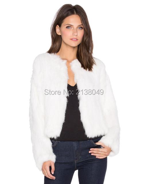 FC03601 Полный рукав женщин куртки Короткие Трикотажные Кролика Шубы