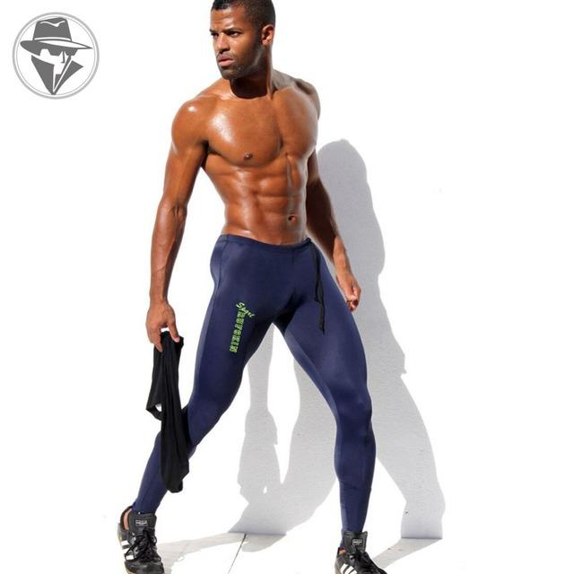 Мужская спорт с сексуальные узкие брюки тренажерный зал мода полная длина брюки пенис ...